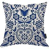 Moslion Throw Pillow Cover Floral 18x18 Inch Bohemian Style Scandinavian Folk Art Navy Blue Square Pillow Case Cushion Cover