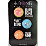 da BOMB Bath Fizzers 3 Pack Groovy Bomb, Sweet Bomb and Mystery Bomb with Surprise Inside 7 oz. each