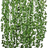 84 Ft-12 Pack Artificial Ivy Leaf Garland Plants Vine Hanging Wedding Garland Fake Foliage Flowers Home Kitchen Garden Office