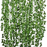 84 Ft-12 Pack Artificial Ivy Leaf Garland Plants Vine Hanging Wedding Garland Fake Foliage Flowers Home Kitchen Garden Office