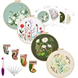 Embroidery Starters Kit with Pattern for Beginners, 4 Pack Cross Stitch Kits, 2 Wooden Embroidery Hoops,Scissors,Needles and