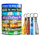 Colorful Christian Glow Bracelet Keychain (12) Pack Bulk Jesus Bracelets and Jesus Keychains / Proverbs 18:10 Products - Sili