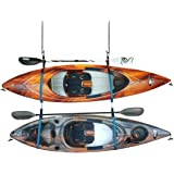 Double Kayak Storage Strap System - for Indoor and Outdoor Kayak & SUP Paddle Board Hangers - Comes with Paddle Clips - PS195