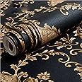 KeTian European Luxury Vintage Damask PVC Deep Embossed Textured Home Decoration Living Room Bedroom Wallpaper Roll Black Gol