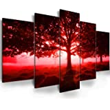 Mordern Red Tree Wall Art - Ephany Art - Tree Wall Art For Living Room,mysterious Forest Photography canvas wall art, Landsca