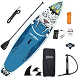 """FAYEAN Inflatable Stand Up Paddle Board 10.5' x 32.5""""x 6"""" Thick Round Board Includes Pump, Paddle, Backpack, Coil Leash Water"""