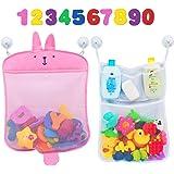 Comfylife Baby Bath Toy Organizer - Bunny (2 Bath Toy Storage Nets, 10 Toy Numbers & 10 Strong Hooks) - Great Bath Net for Ki