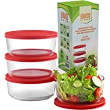 Glass Food Storage Containers with Red Airtight Lids 24oz (Set of 4)   6 x 2.5 Inch Small Round Mixing Bowls for Meal Prep, L