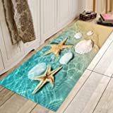 Memory Foam Bath Rugs and doormats Non Slip Absorbent Super Cozy Flannel Bathroom Rug Carpet 47x17 inches Starfish Scallop Be