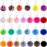 BQTQ 26 Pieces Keychain Pom Pom Rabbit Faux Fur Pom Poms Fluffy Balls Fluffy Pom Poms Keyirings for Women Girls Bag Accessori