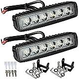 "Partsam 6"" LED Light Bar 36W 6500K Super Bright Spot Work Light Pods Single Row Off Road Driving Light Fog Light Boat Light W"
