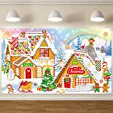 Christmas Gingerbread Photo Backdrop Decoration Sweet Merry Christmas Gingerbread House Banner Santa Candy Background for Chr