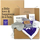 6-Piece Care Package Box, Warm & Relaxing Sympathy Blanket, Socks, Tumbler, Mask, Candle, Perfect Get Well Gifts for Women &
