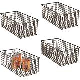 mDesign Farmhouse Decor Metal Wire Food Organizer Storage Bin Basket with Handles for Kitchen Cabinets, Pantry, Bathroom, Lau