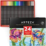 ARTEZA Inkonic Fineliners Fine Point Pens, Set of 24 Fine Tip Markers with Color Numbers, 0.4Mm Tips, Ergonomic Barrels, Bril