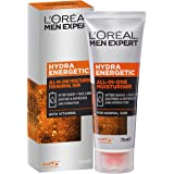 L'Oréal Paris Men Expert Hydra Energetic All in One Moisturiser, Aftershave and Face Cream, for Dry and Tired Skin, with Guar
