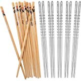 Hiware 10 Pairs Reusable Chopsticks Set Include 5 Pairs Metal Stainless Steel Spiral Chopsticks and 5 Pairs Natural Bamboo Ch