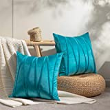 Topfinel Decorative Hand-Made Throw Pillow Covers 18 x 18 Inch Soft Particles Striped Velvet Solid Cushion Covers for Couch B