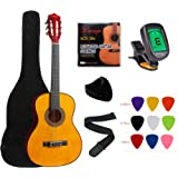 """YMC Classical Guitar 1/2 Size 34"""" Inch Nylon Strings Classical Acoustic Guitar Starter Pack With Carrying Case & Accessories"""