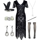 POKERGODZ Women Halter V-Neck Sequins Tassel 1920s Flapper Inspired Party Dance Dress with 20s Gatsby Accessories Set