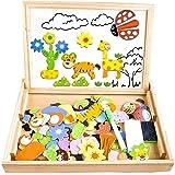 積み木 木のおもちゃ 磁気パズル 木のパズル おもちゃ 知育玩具 赤ちゃん 幼児 子供 男の子 女の子 子ども 室内玩具 出産祝い 贈り物 誕生日プレゼント (30cm*22cm)