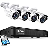 ZOSI 8-Channel HD-TVI 720P Video Security Camera System,DVR Recorder with 1TB Hard Drive and (4) 1.0MP 1280TVL Indoor/Outdoor