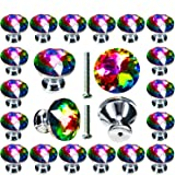 Cabinet Knobs, POZEAN 30 Pack Colorful Crystal Knobs 1.18inch (30mm) for Drawer, Dresser, Cabinet Come with 2 Different Size