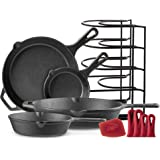 "Cast Iron Skillet Set - 6""+8""+10""+12"" - Pre-Seasoned Oven Safe Cookware Kit - Bonus: 4-Heat-Resistant Silicone Holders + Pan"
