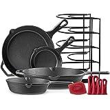 "Cast Iron Skillet Set - 6""+8""+10""+12"" - Pre-Seasoned Oven Safe Cookware Kit - Bonus: 4-Heat-Resistant Silicone Holders + Pan"