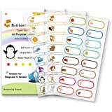 Baby Bottle Labels for Daycare,School, Waterproof Write-On, Self-Laminating Name Labels, Tags, Sticker Multiple Colors(Animal