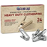 24 Pack - Long Lasting, Stainless Steel Clothespins - Strong Grip - Weather-Resistant, Multipurpose Clip - Use As Clothesline