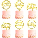 6-Pack Gold Birthday Cake Topper Set, Double-Sided Glitter, Acrylic Happy Birthday Cake Toppers/Cupcake Toppers, Birthday Dec