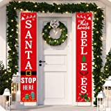 Dazonge Christmas Decorations Outdoor Indoor | Santa Stop Here & This House Believes Vertical Signs | Vintage Christmas Porch