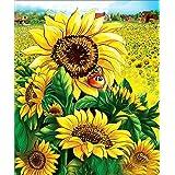 5D Diamond Painting Kits, DIY Rhinestone Embroidery Full Drill Cross Stitch Arts Craft for Home Wall Decor Sunflower 12x16inc