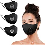 (3 PACKS) 3D Protection Cover Face Mask with Breathing Valve & Elastic Earloop, 4-way Stretch, Washable Reusable (3)
