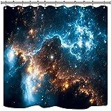 Riyidecor Galaxy Planet Shower Curtain Nebula Night Starry Sky Universe Space Fantasy Star Fabric Waterproof Home Bathtub Dec