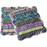 NEWLAKE Striped Jacquard Style Cotton Throw Pillow Covers (2 Pieces 18X18 Inch)