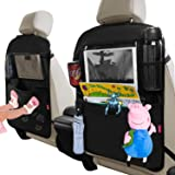 "Dotala Kick Mats with Car Back seat Organizer,XL Storage Pocket - 2 Pack with Clear 11"" Tablet Holder - Premium XL Protector"