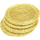 """Terraacraft Shimmering Indian Handmade Beaded Coasters -4"""" Round-Set of 4 Coasters (Gold)"""