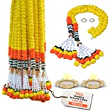 DIYANA IMPEX Marigold Garland for Decoration 5 Feet Long Artificial Marigold Flowers 2 Pc, Christmas Decorations Indian Décor