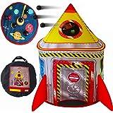Playz 5-in-1 Rocket Ship Play Tent for Kids with Dart Board, Tic Tac Toe, Maze Game, & Immersive Floor - Indoor & Outdoor Pop