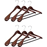 Topline Classic Wood Wide Shoulder Suit Hangers - 6 Pack (Mahogany Finish)