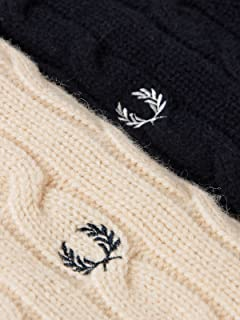 Beams x Fred Perry Cricket Sweater 11-15-0466-060: Off White / Navy