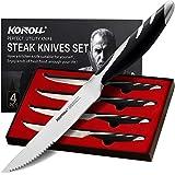 KONOLL Steak Knives Set of 4 Steaks Knife Serrated Blade German High Carbon Steel Full Tang Handle (Half serrated)
