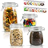 Airtight Glass Storage Jars with Clip Lid Top Clear Canister for Oats Canning Cereal Pasta Sugar Coffee Nuts Spices Set of 4