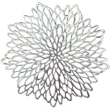 OCCASIONS 10 PACK Pressed Vinyl Metallic Placemats / Charger / Wedding Accent Centerpiece (10 pcs Round Silver Leaf)