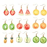 Creative Assorted Multiple Trendy Fruits Dangle Earrings Necklace Set for Women's