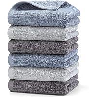 HomeFirst ハンドタオル 6枚セット 綿100% 家庭用 業務用 タオル 34cm×35cm 重さ約50g/枚…