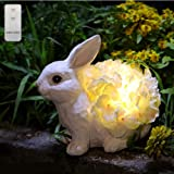 HDNICEZM Garden Statue Cute Rabbit Figurine with Flower Lights Warm White LED -Battery Powered Remote Control Rabbit Statue N