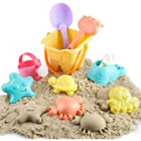 BeebeeRun Kids Beach Sand Toys Set, Beach Toys in Mesh Bag with Bucket, Watering Can, Rake, Water Scoop, Animal Molds, Sandbo